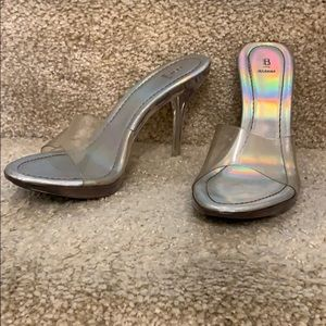 Bakers Clear Lucite Heels Sandals, size 7